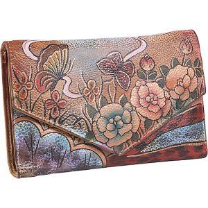 V-Flap Checkbook Wallet - Premium Rose Antique