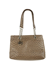 Nicole Ostrich Double Shoulder Bag w Chain Handle by Emilie M
