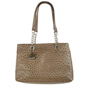 Nicole Ostrich Double Shoulder Bag w Chain Handle