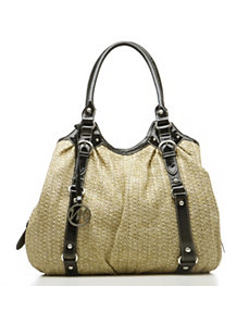 Karen Straw Double Shoulder Bag w/ Patent Trim by Emilie M