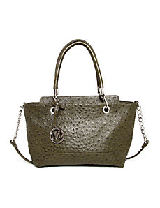 Kristi Ostrich Satchel 2/ Chain Shoulder Strap by Emilie M