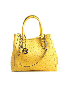 Nicole Ostrich Tote with Detachable Chain Strap by Emilie M