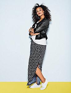 Printed Matte Jersey maxi skirt