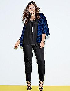 Lena double weave slit-ankle pant