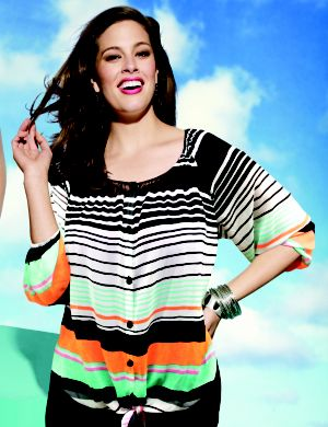 Tie front striped blouse