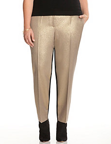 Gold shimmer ankle pant by DKNYC