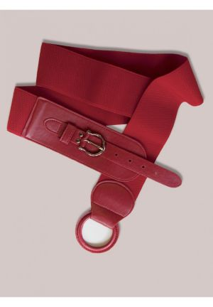 Round Buckle Belt in Red