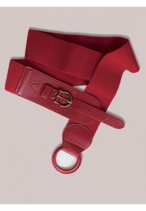 Round Buckle Belt in Red