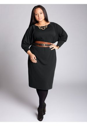 Isolde Belted Dress in Black