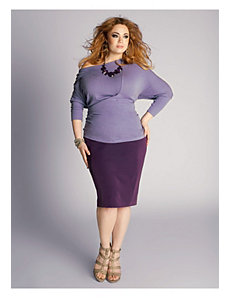 Michaela Curvy Pencil Skirt in Deep Purple by IGIGI by Yuliya Raquel