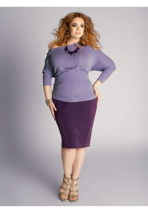 Michaela Curvy Pencil Skirt in Deep Purple