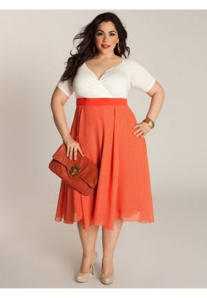 Rita Vintage Polka Dot Dress in Hot Coral