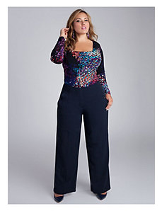 Karina Wide Leg Pants in Navy Blue by IGIGI