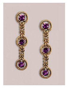 Crystal Drop Earrings in Amethyst by IGIGI by Yuliya Raquel