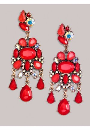 Carrie Earrings in Coral Red
