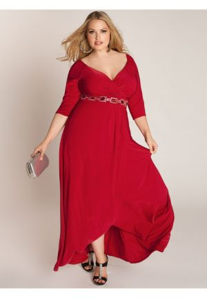 Nadine Jeweled Gown in Ruby