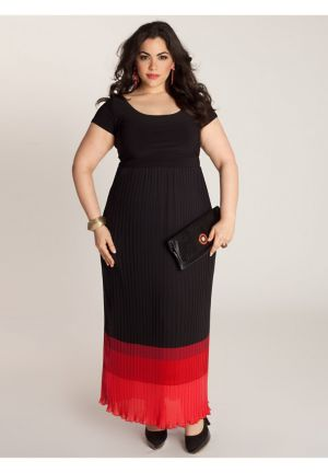 Bernadette Maxi Dress in Black/Rouge