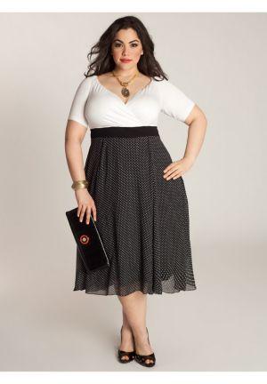 Rita Vintage Polka Dot Dress in Black