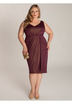 Nora Dress in Gold/Plum