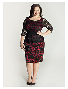 Nicolette Peplum Dress in Merlot by IGIGI