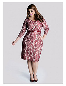 Regina Dress in Ruby Argentan Lace by IGIGI