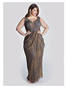 Carolina Evening Gown in Gold/Slate by IGIGI