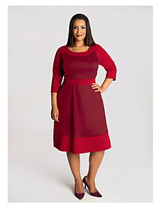 Evey Colorblock Dress in Cranberry by IGIGI