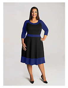 Evey Colorblock Dress in Black/Royal by IGIGI