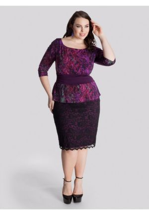 Nicolette Peplum Dress in Berry Multi
