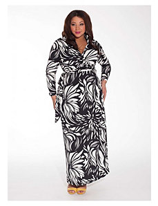 Wren Wrap Dress in Tropic Noir by IGIGI