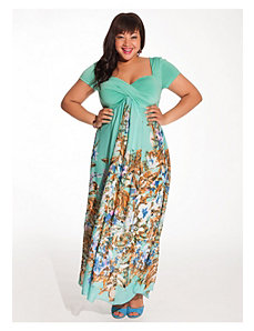 Christina Maxi Dress in Mint Floral by IGIGI