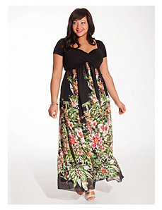 Christina Maxi Dress in Black Floral by IGIGI