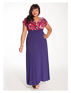 Linea Maxi Dress in Floral/Violet by IGIGI