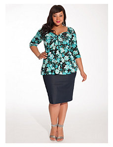 Belmont Pencil Skirt in Denim by IGIGI