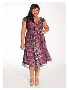 Rachelle Lace Dress in Metallic Orchid by IGIGI