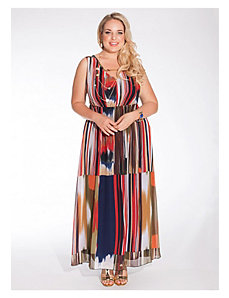 Nichol Maxi Dress in Abstract Stripe by IGIGI
