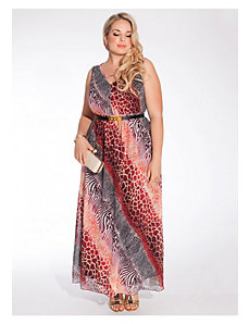 Nichol Maxi Dress in Animal Print by IGIGI
