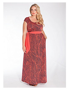 Tiana Maxi Dress in Coral Wave by IGIGI