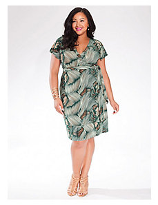 Geneva Wrap Dress in Green Palma by IGIGI