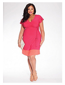 Geneva Wrap Dress in Fuchsia/Coral by IGIGI