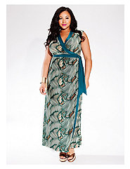 Naples Maxi Wrap Dress in Green Palma
