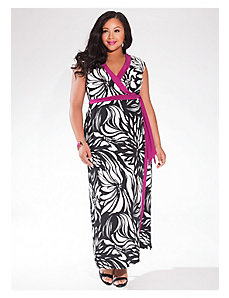 Naples Maxi Wrap Dress in Tropic Noir by IGIGI