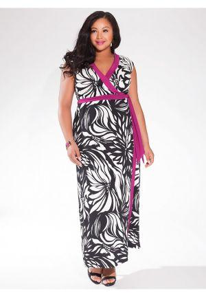 Naples Maxi Wrap Dress in Tropic Noir