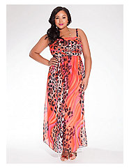 Rene Tube Maxi Dress in Fuchsia Leopard