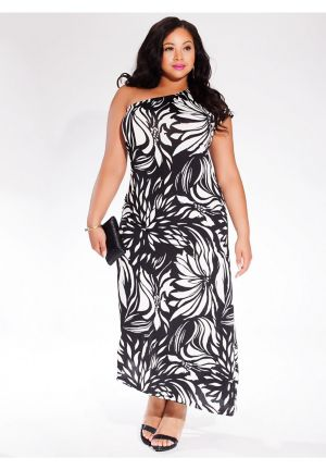 Taris Asymmetric Dress in Tropic Noir