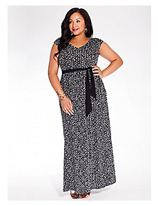 Tiana Maxi Dress in Black Crosshatch by IGIGI