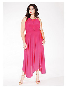 Kaia Halter Maxi Dress in Fuchsia Red by IGIGI