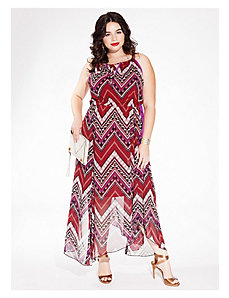 Kaia Halter Maxi Dress in Crimson Tribal by IGIGI