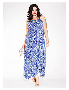 Kaia Halter Maxi Dress in Cobalt Cachemire by IGIGI