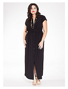 Emma Maxi Shirt Dress in Black by IGIGI